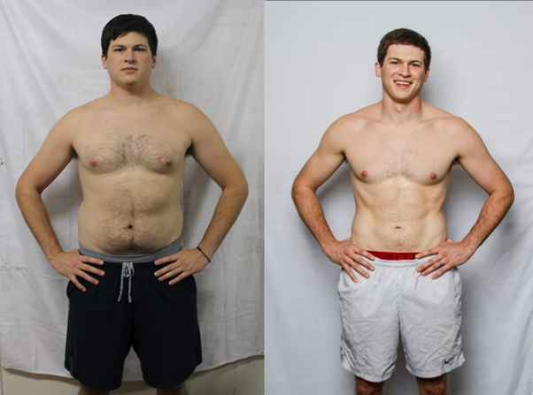 Flabby man next to a fit man transformation